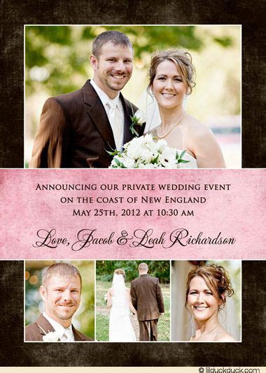 Brown Private Wedding Announcement   Photo Girly Pink Text