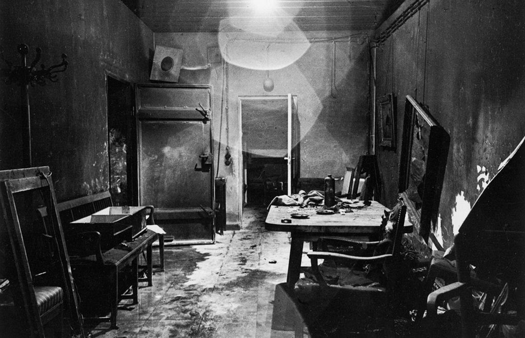 One of the first photos that was taken inside of Hitler's bunker (Führerbunker) in 1945 by Allied soldiers.