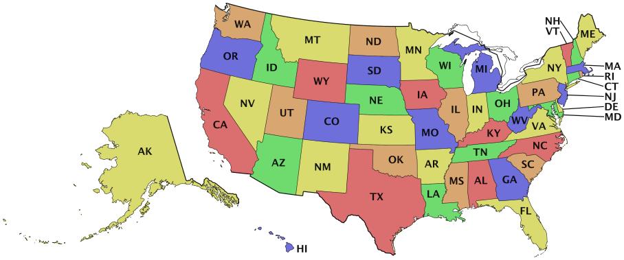 United States Map Abbreviations