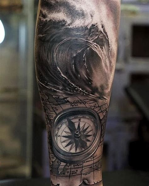 compass  wave tattoo tattoos forearm tattoos sleeve