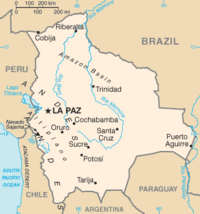 Map of Bolivia from the CIA World Factbook.