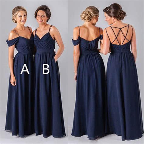 2017 Navy Long bridesmaid dresses, chiffon bridesmaid