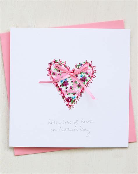 Heart Mother's Day Card   Hand Embroidered Design
