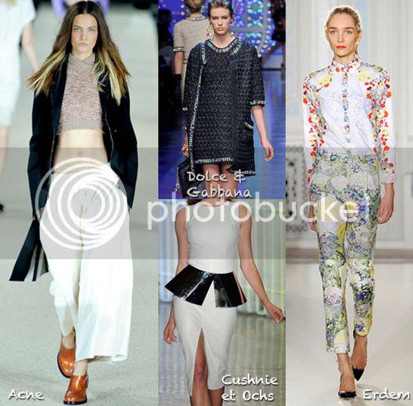 spring 2012 runway trends, spring 2012 fashion trends, Acne parka, Cushnie et Ochs peplum dress, Erdem floral trousers spring 2012