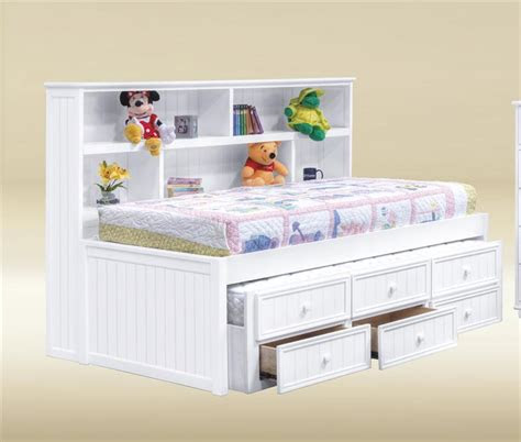 bianca white full size bookcase bed white bed  trundle
