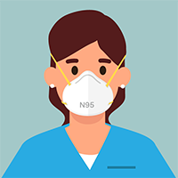Woman in scrubs wearing mask with text N95
