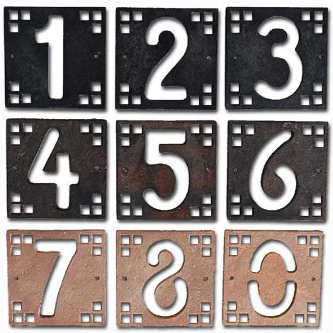 Copper Craftsman House Number Tiles by Mission Metalworks