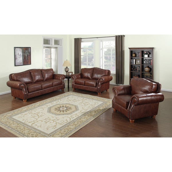 Brandon Distressed Whiskey Italian Leather Sofa, Loveseat ...