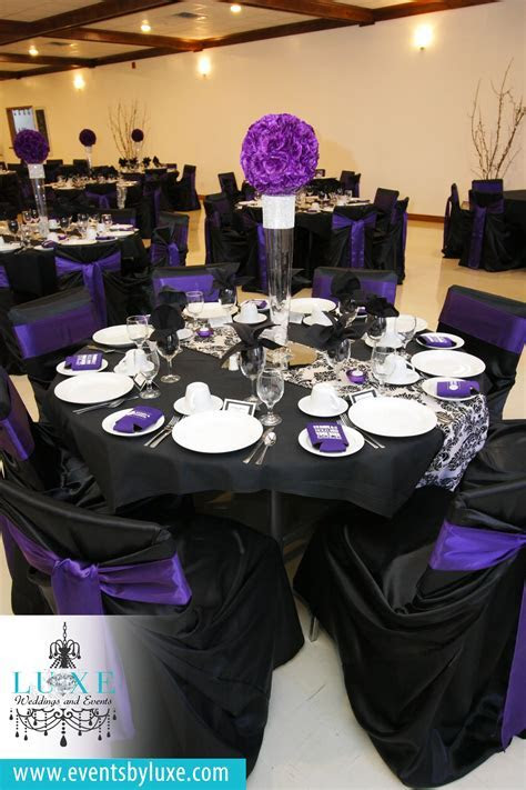 Purple black and white damask wedding decor, damask