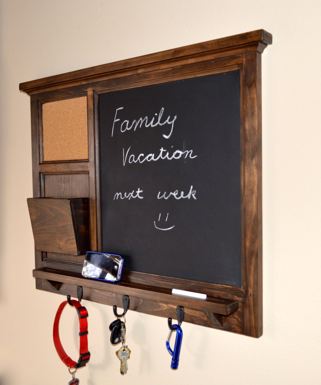 Chalkboard & corkboard Mail Organizer letter holder  Key / Coat / Hat rack - RusTic - Home Decor