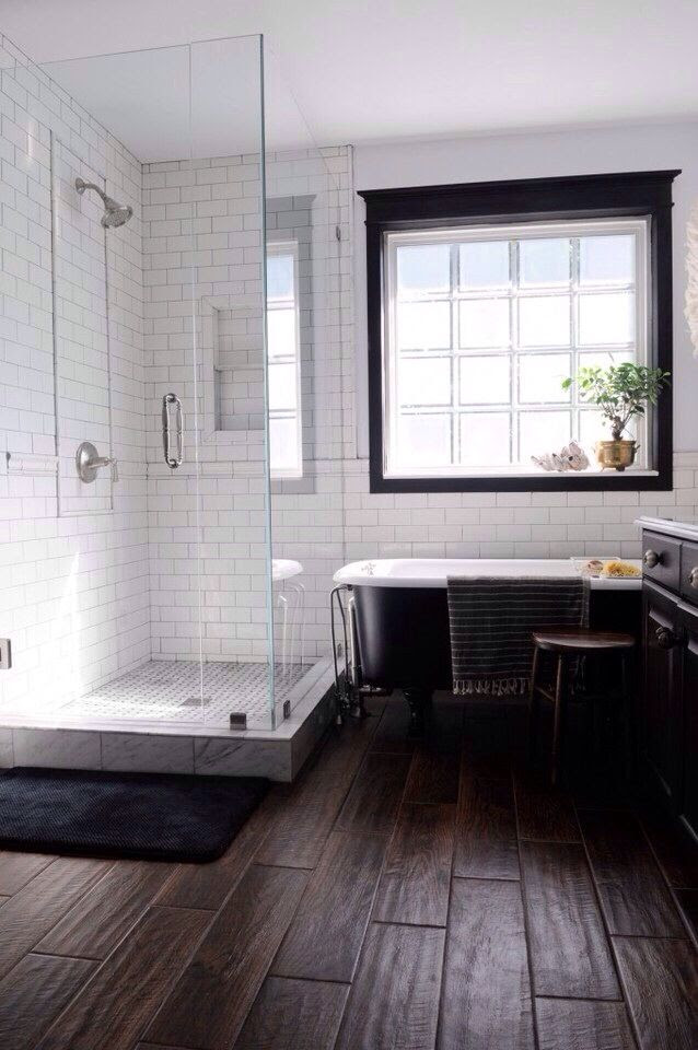 Modern bathroom. Subway tile. Wood. | Home projects ...