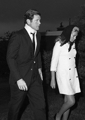 Ted and Joan Kennedy at the funeral of Mary Jo Kopechne