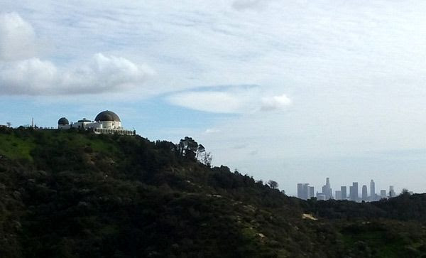 Griffith Observatory with the Downtown Los Angeles skyline visible in the backdrop...on January 21, 2017.