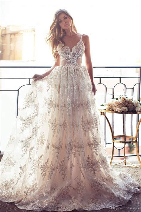 2019 Full Lace Open Back Wedding Dresses Sexy Spaghetti