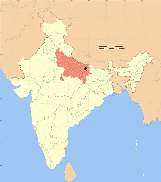 File:Uttar Pradesh district location map Gorakhpur.svg