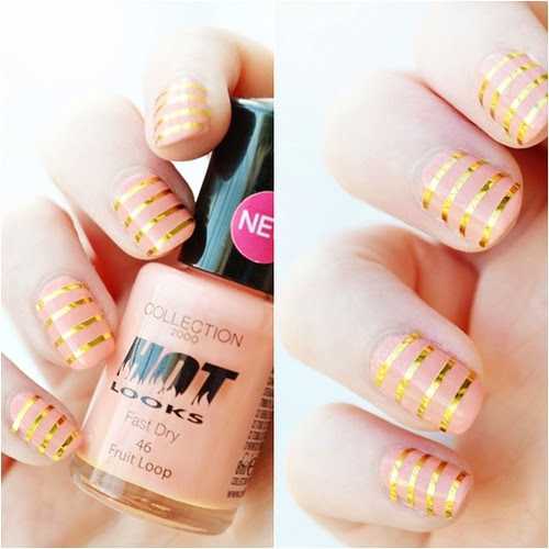 peach and gold striped nails