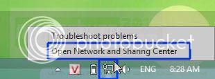 Truy cập vào Network Center