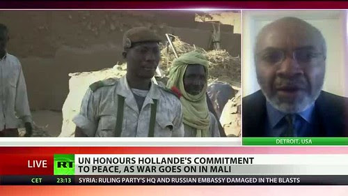 Abayomi Azikiwe, editor of the Pan-African News Wire on RT satellite world news, addressing the announcement by UNESCO that it would award a peace prize to French President Francois Hollande. Azikiwe pointed out the devastation caused by Paris in Mali. by Pan-African News Wire File Photos