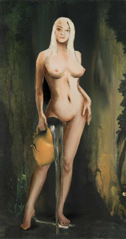 Traditional Modern Female Nude Standing, after Ingres La Source. $20 to $30, medium-size prints, free downloads. GrlFineArt. Fine art work, nudes, figurative paintings. View here, art decor fineart figures painting paintings prints. For the digital multimedia image I have used a motif after Ingres, La Source.