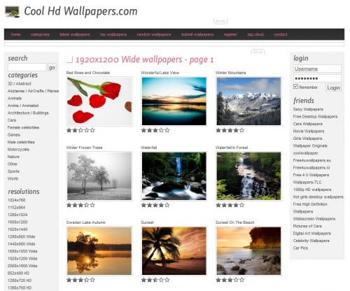 Categorizes wallpapers by size and provides multiple sizes for all