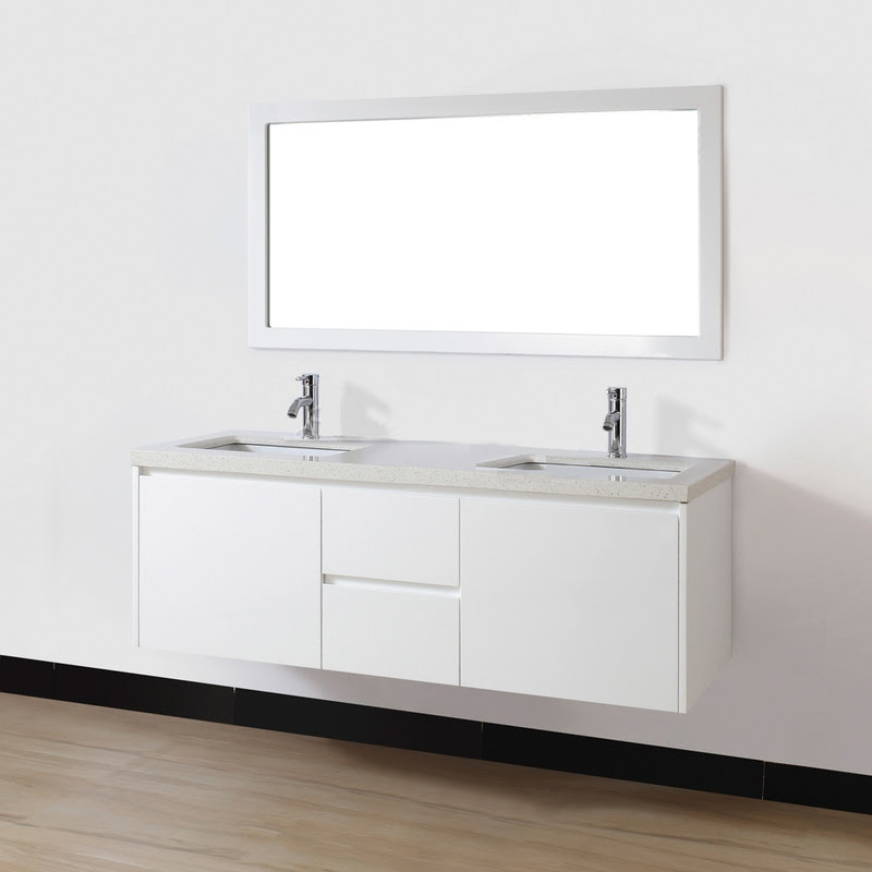 Hip Rectangular Wall Mounted Mirror Over Black 60 Inch Double Sink