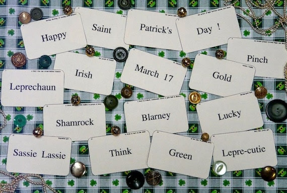 new 16 St. Patrick's Day Flash Cards - vintage like altered art party blarney shamrock saint green irish scrapbooking  digital uprint primitive