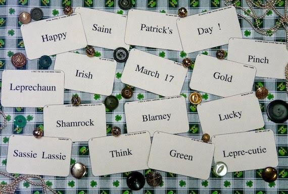 new 16 St. Patrick's Day Flash Cards - vintage like altered art party blarney shamrock saint green irish scrapbooking  digital uprint primitive