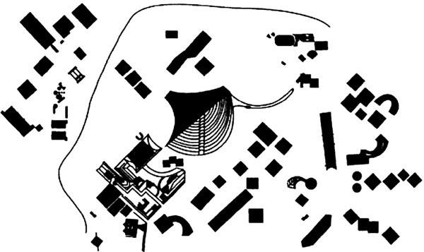 Схема расположения Пирамид комплекса Кайласа в Тибете .