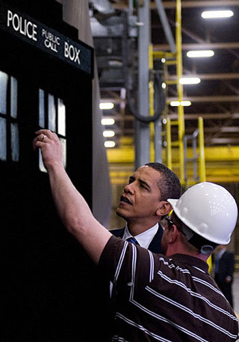 Obama inspects the TARDIS