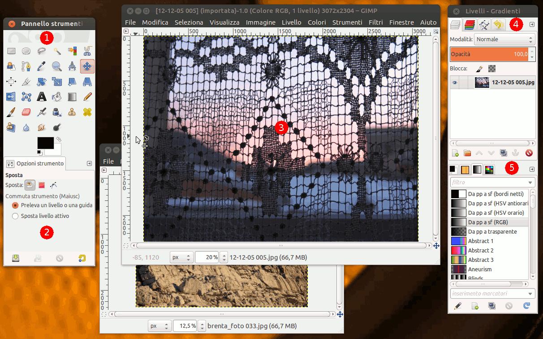 Una schermata che illustra il funzionamento in modalità multifinestra.