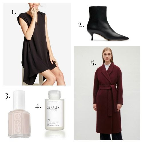 RACHEL Rachel Roy Dress - M.Gemi Boots - Essie Nail Polish - Olaplex Hair Protector - COS Coat