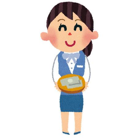 フリー素材 銀行員の女性を描いたイラスト手描き風のやわらかい