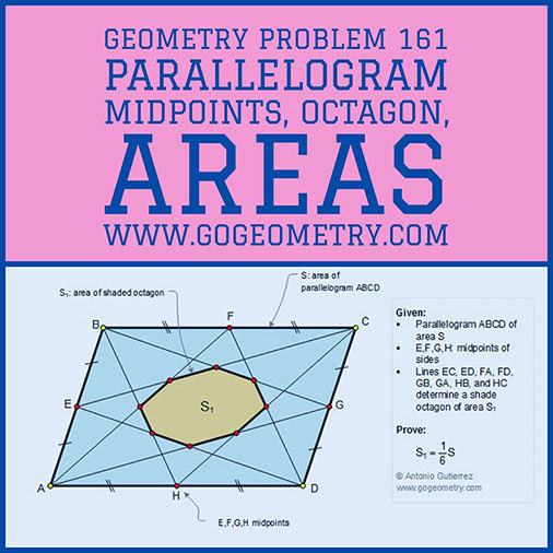 Geometric Art Typography of Geometry Problem 161: Parallelogram, Midpoints, Octagon, Areas, iPad Apps.