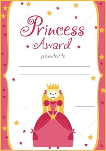 Printable Princess Award Certificate   Free Printable
