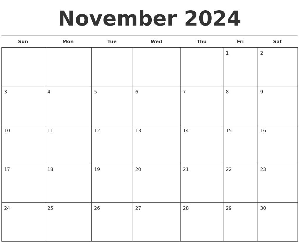 november 2024 free calendar template