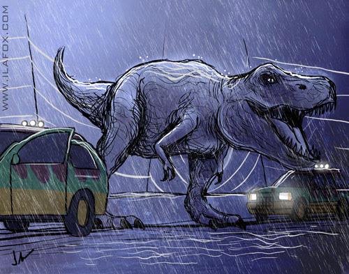 30 Day Drawing Challenge, fav movie, Desafio dos 30 dias de desenho, filme favorito, Jurassic Park, cena T-Rex na chuva, by ila fox