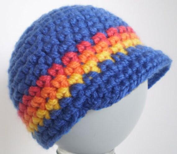 Cute Blue Crochet  Newborn Baby Boy Peak Cap Beanie Hat (Preemie -12 months) Photo Prop