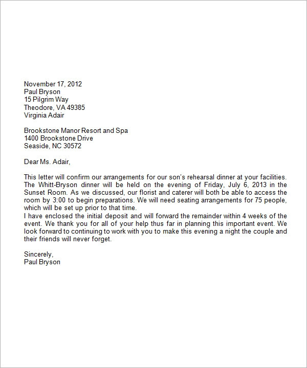 formal business letter format with letterhead