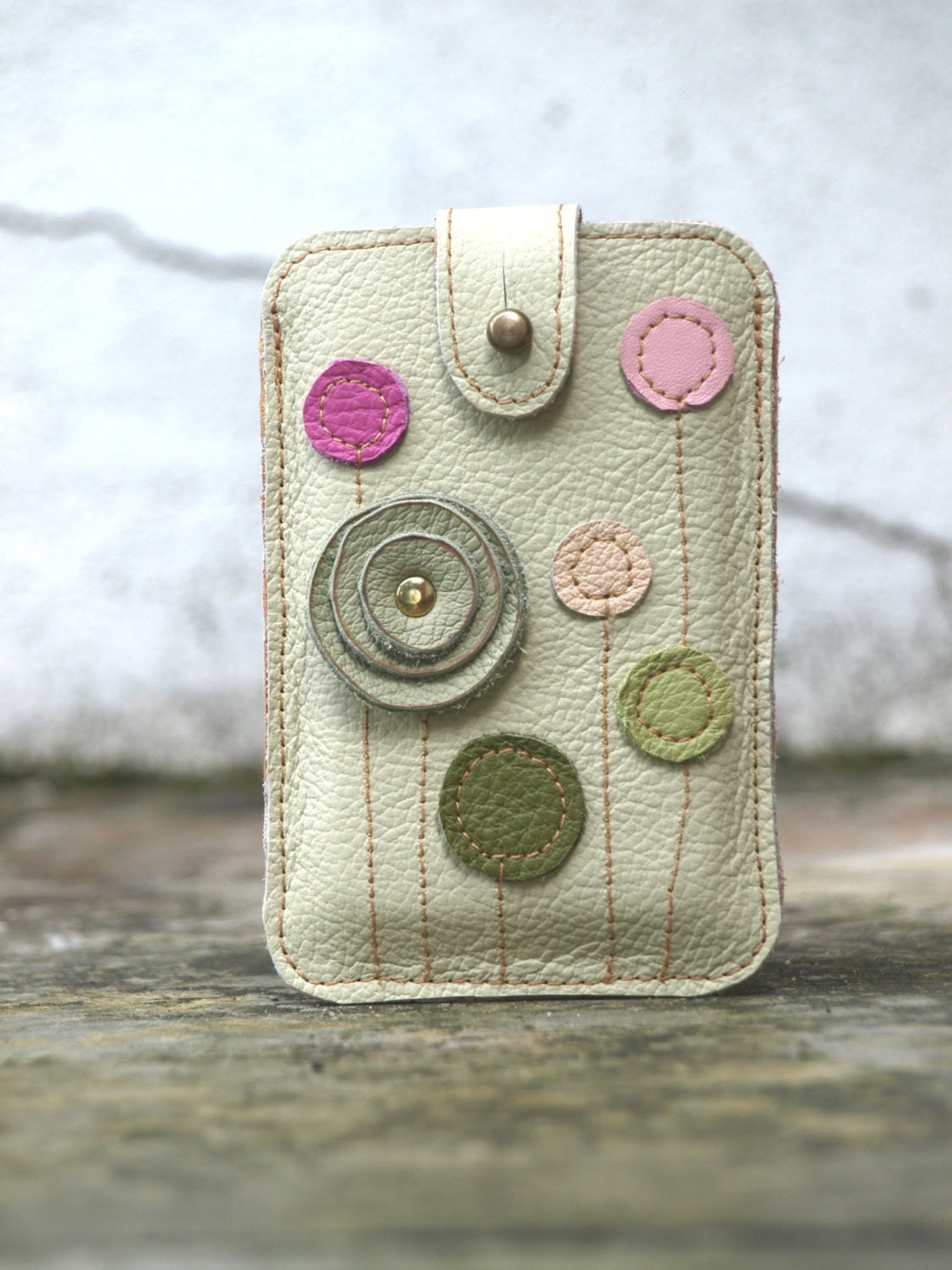 Black Friday Cyber Monday iPhone iTouch  HTC Case . Pastel Leather Floral Applique
