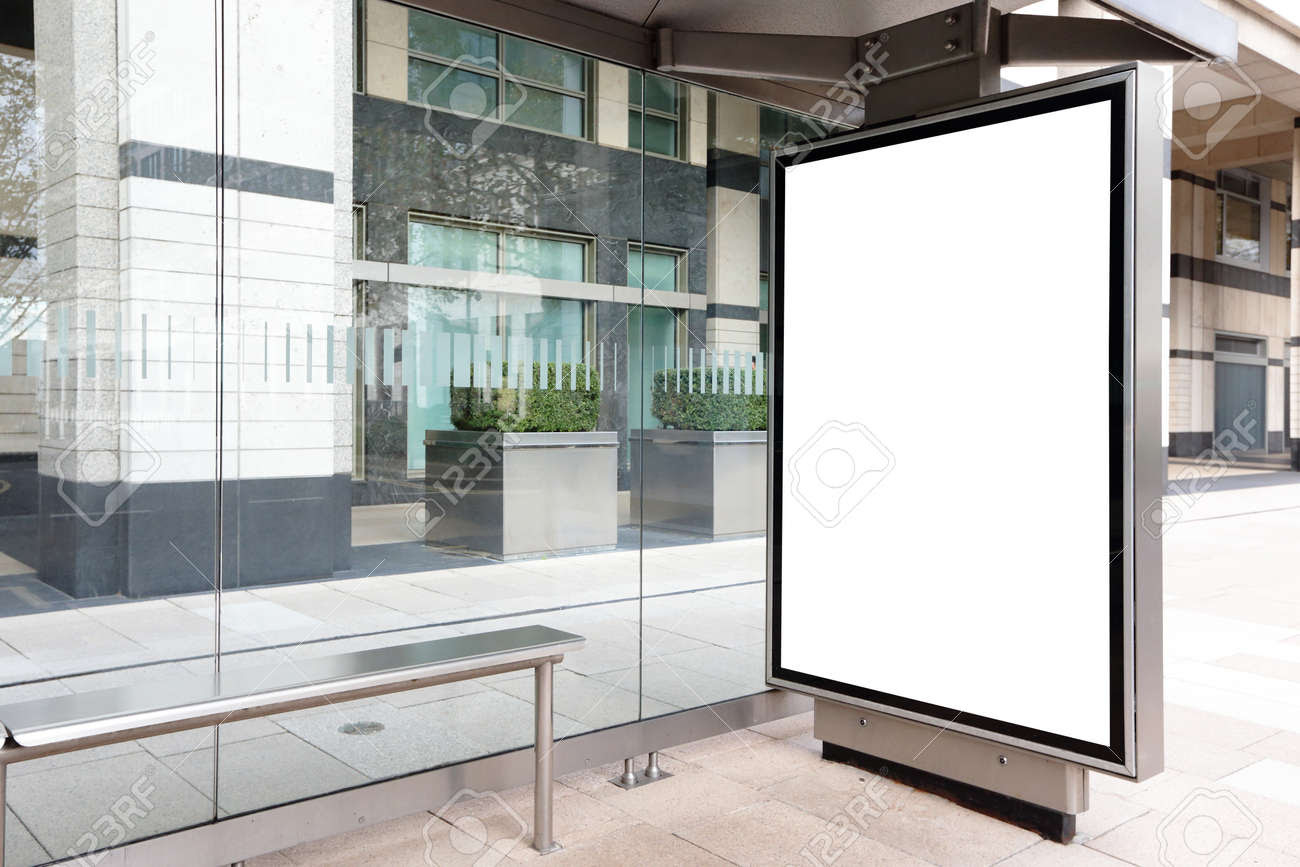 Blank Billboard In Bus Stop, Great Copy Space For Your Design ...