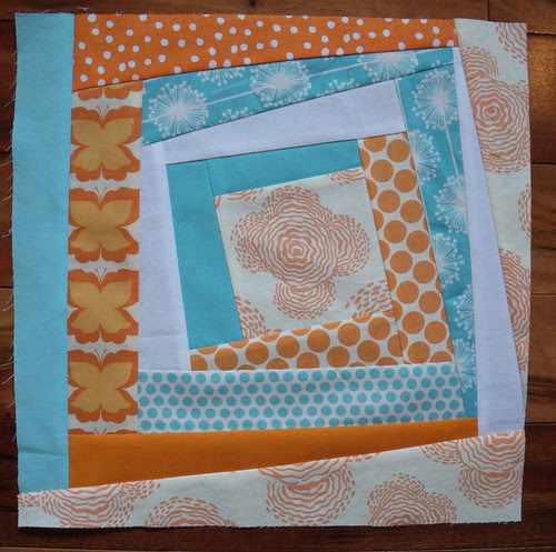Aqua and Orange Bee - Melissa's Blocks