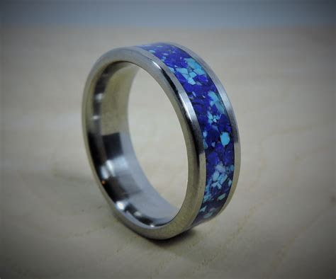Titanium Ring Turquoise Ring Lapis Ring Blue Ring Wedding
