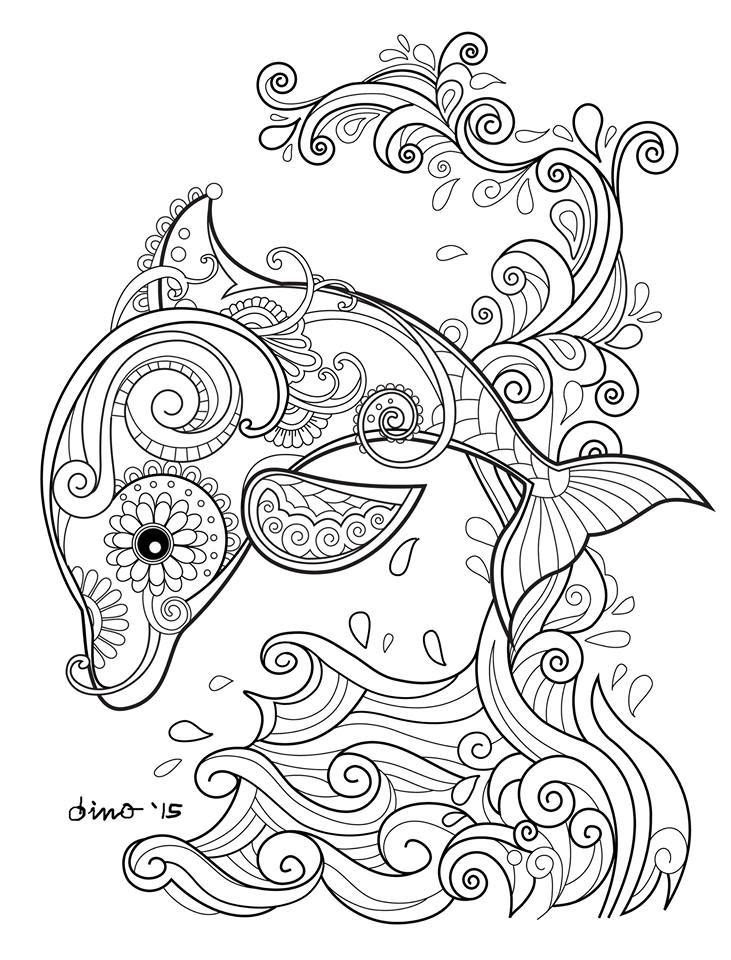 31 Dolphin Adult Coloring Pages - Free Printable Coloring Pages