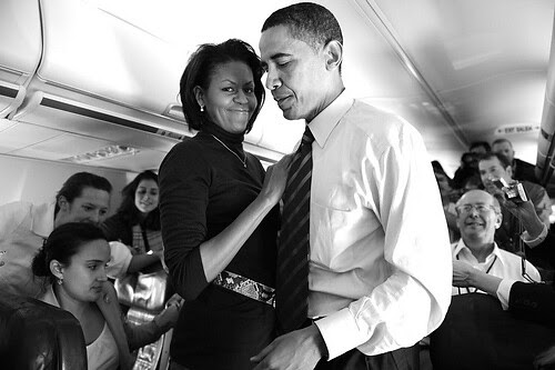Flying Michelle and Barack