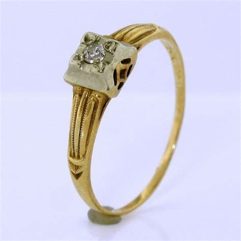 Antique Edwardian Diamond Engagement Ring in 14K White and