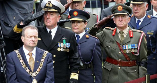 Lord Mayor of Cork Cllr Chris O'Leary (left) among other dignitaries at the State funeral of executed rebel Thomas Kent at St Nicholas Church, Castlelyons, Co Cork, September 18th, 2015. Photograph: Jim Coughlan/PA Wire