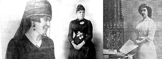 Emma Calderón, Patrocinio de Biedma  y María del Mar Terrones.