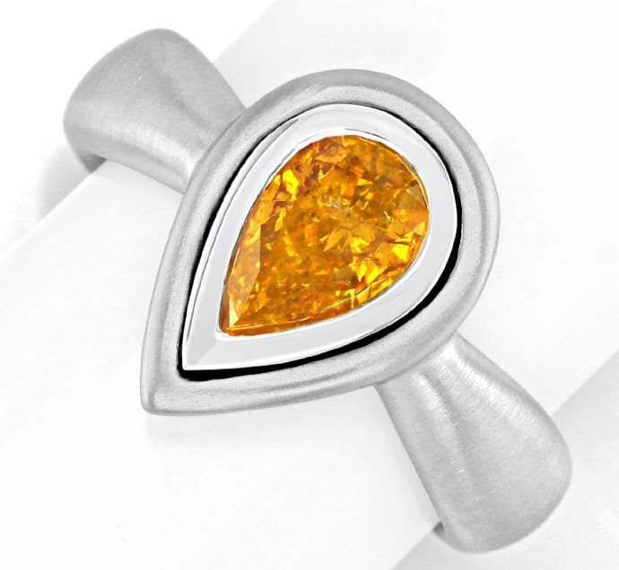 Original-Foto 2, DIAMANTRING FANCY INTENSE ORANGE YELLOW HRD 18K SCHMUCK