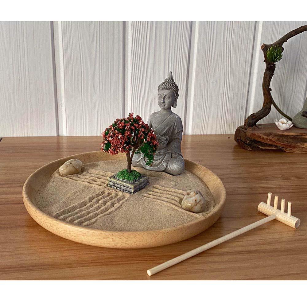 Asian Home Sitting Buddha With Bonsai Meditation Miniature Zen Garden Buy Miniature Zen Garden Zen Garden Gift Mini Zen Garden Product On Alibaba Com
