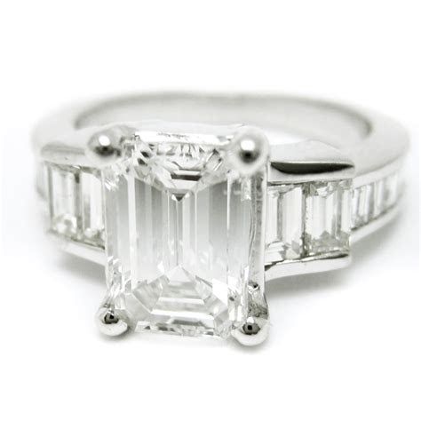 Emerald Cut Diamond Engagement Ring With Emerald Cut